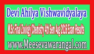 Devi Ahilya Vishwavidyalaya M.Sc Final Zoology/Chemistry 4th Sem Aug 2016 Exam Results
