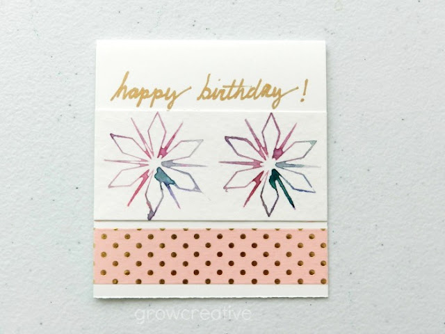 happy birthday gift tag with watercolors and washi tape: grow creative blog