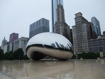 the bean, chicago, cloud gate, in the rain, sculpture, no people