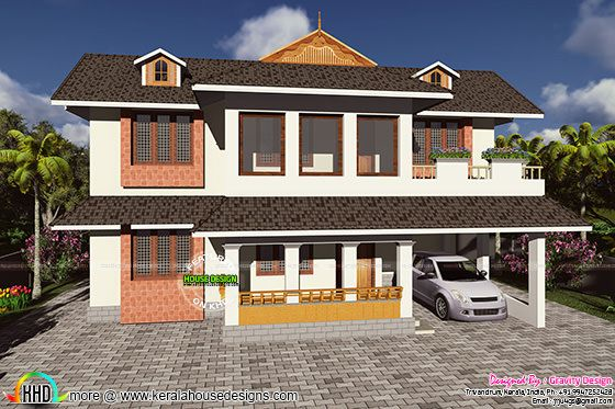 Mixed type gabled roof home front elevation