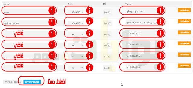 املأ الاقسام كما فى الصورة بالضبط أول مدخلين من مدونتك فى بلوجر ويعطيهم لك جوجل بلوجر والسرفرات هذه هي سيرفرات بلوجر    216.239.32.21  216.239.34.21  216.239.36.21  216.239.38.21