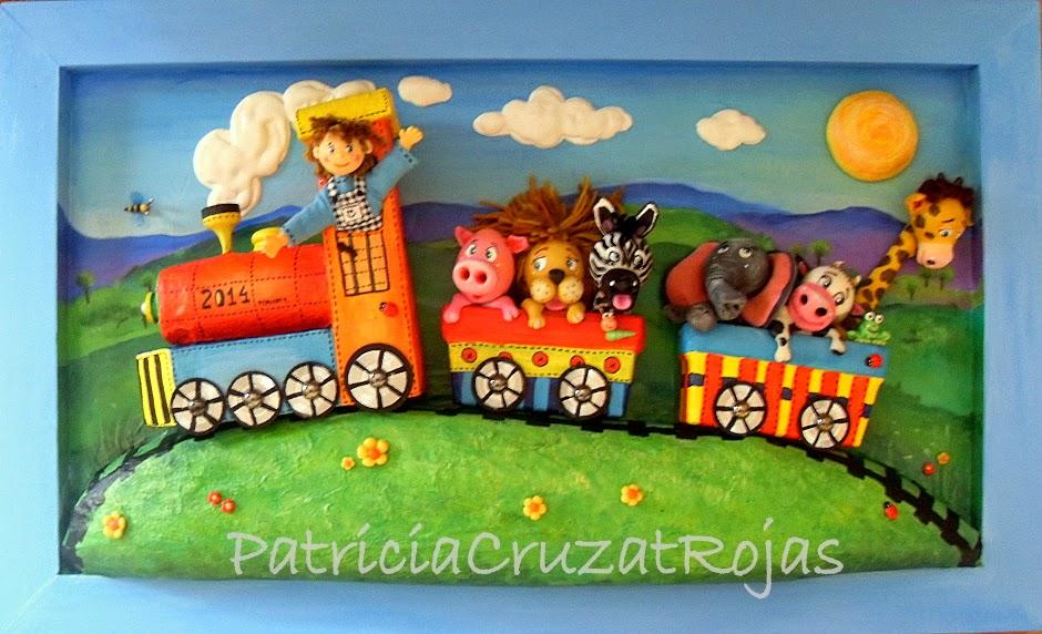 Patricia Cruzat Artesania y Color: Tren con Animales, cuadro en ...