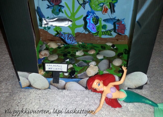 DIY, akvaario, askartelu, lapsi, merenneito, vesi, kalat