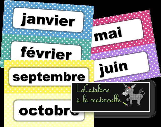 Etiquettes mois script - calendrier perpétuel (LaCatalane)