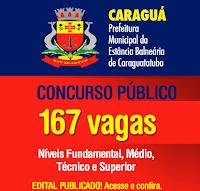 Apostila Concurso Prefeitura de Caraguatatuba 2016 - Agente Administrativo, Agente de Apoio Escolar e professor.