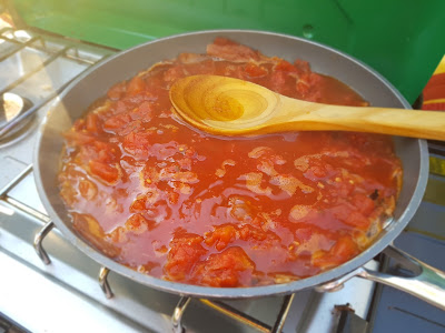 Let The Stewed Tomatoes Simmer Till Most of The Liquid is Gone