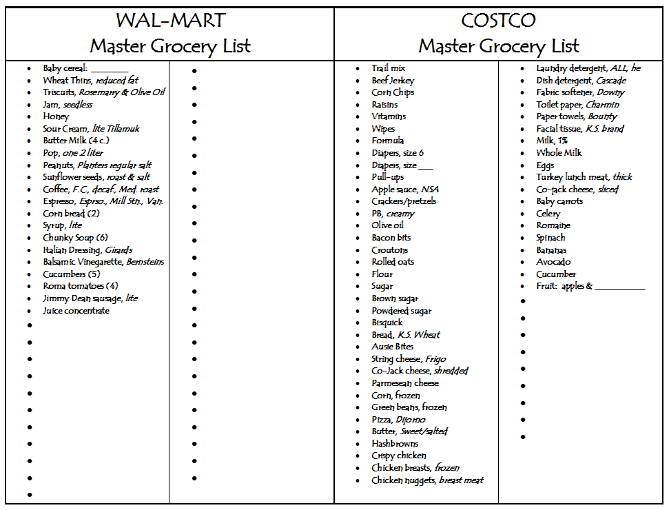 Doc600664 Grocery List Examples Sample Grocery List Template – Sample Grocery List Template