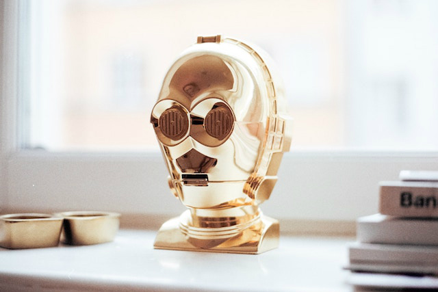 Figura decorativa busto dorado de C3PO de Star Wars