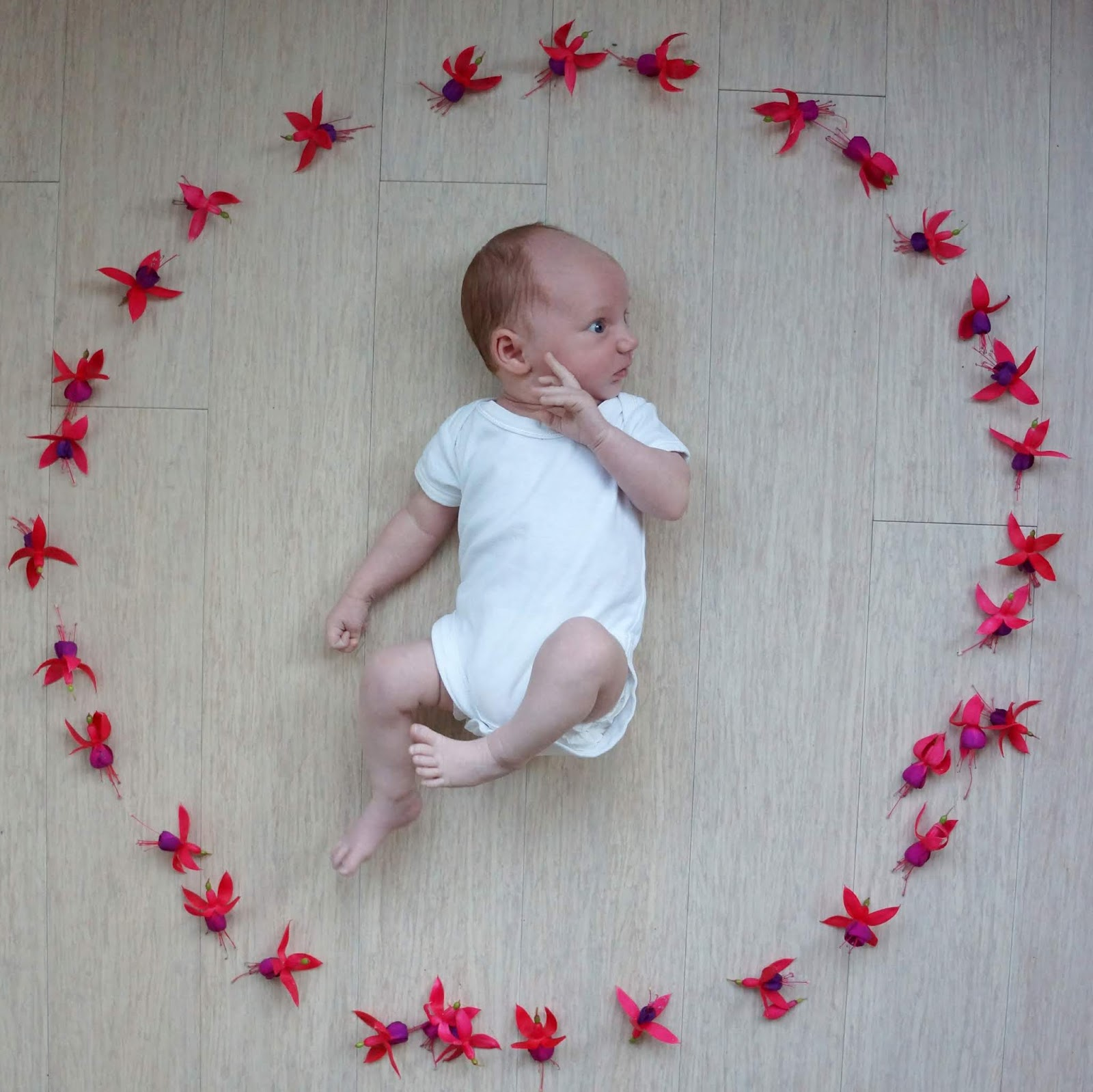 baby in a flower circle
