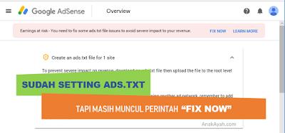 Masalah saat seting ads.txt pada dashboard google adsense