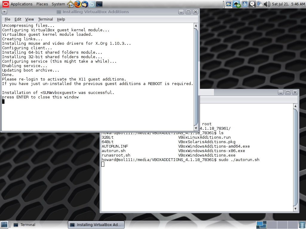 Install VirtualBox Guest Addons in Solaris 11 | Howard