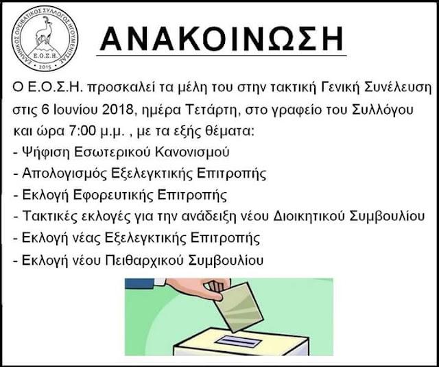 Εκλογές στον Ελληνικό Ορειβατικό Σύλλογο Ηγουμενίτσας