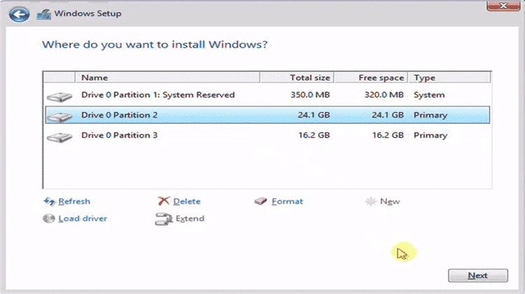 pengaturan partisi cara instal windows 8