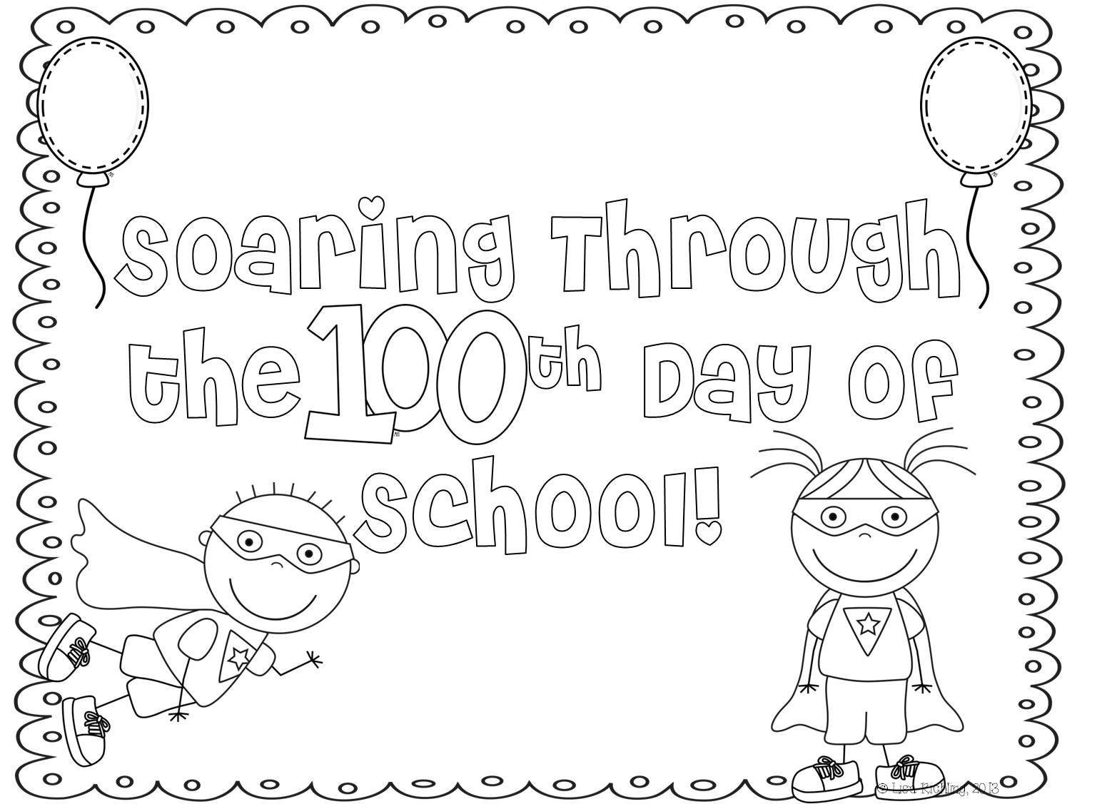 This is an image of Impeccable Coloring Sheets For 100th Day Of School