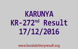 KARUNYA KR 272 Lottery Results 17-12-2016