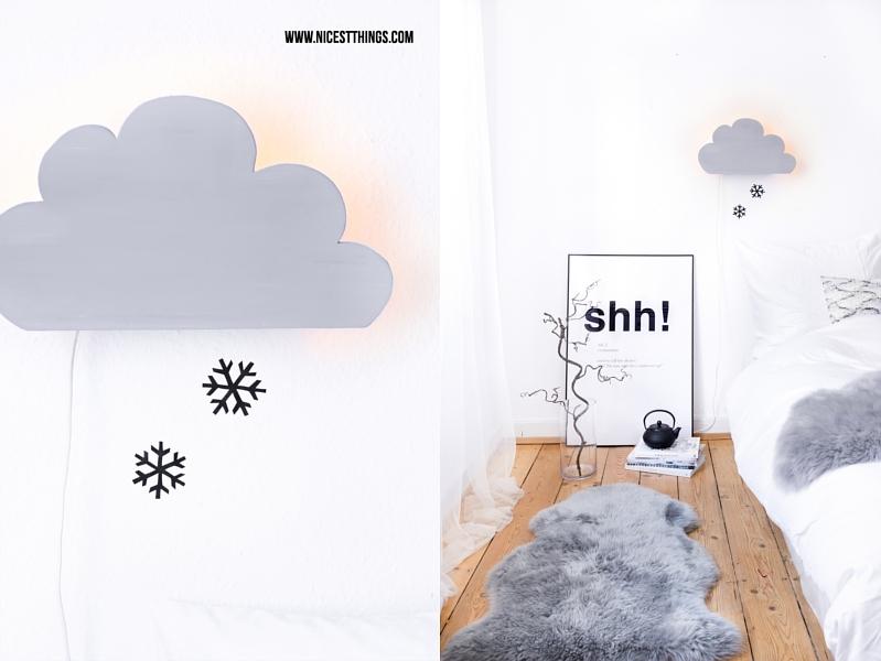 DIY Wolken Lampe Leuchte selber machen mit Schneeflocken