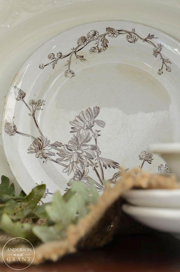 Vintage brown Chrysanthemum transferware plate.  |  www.andersonandgrant.com