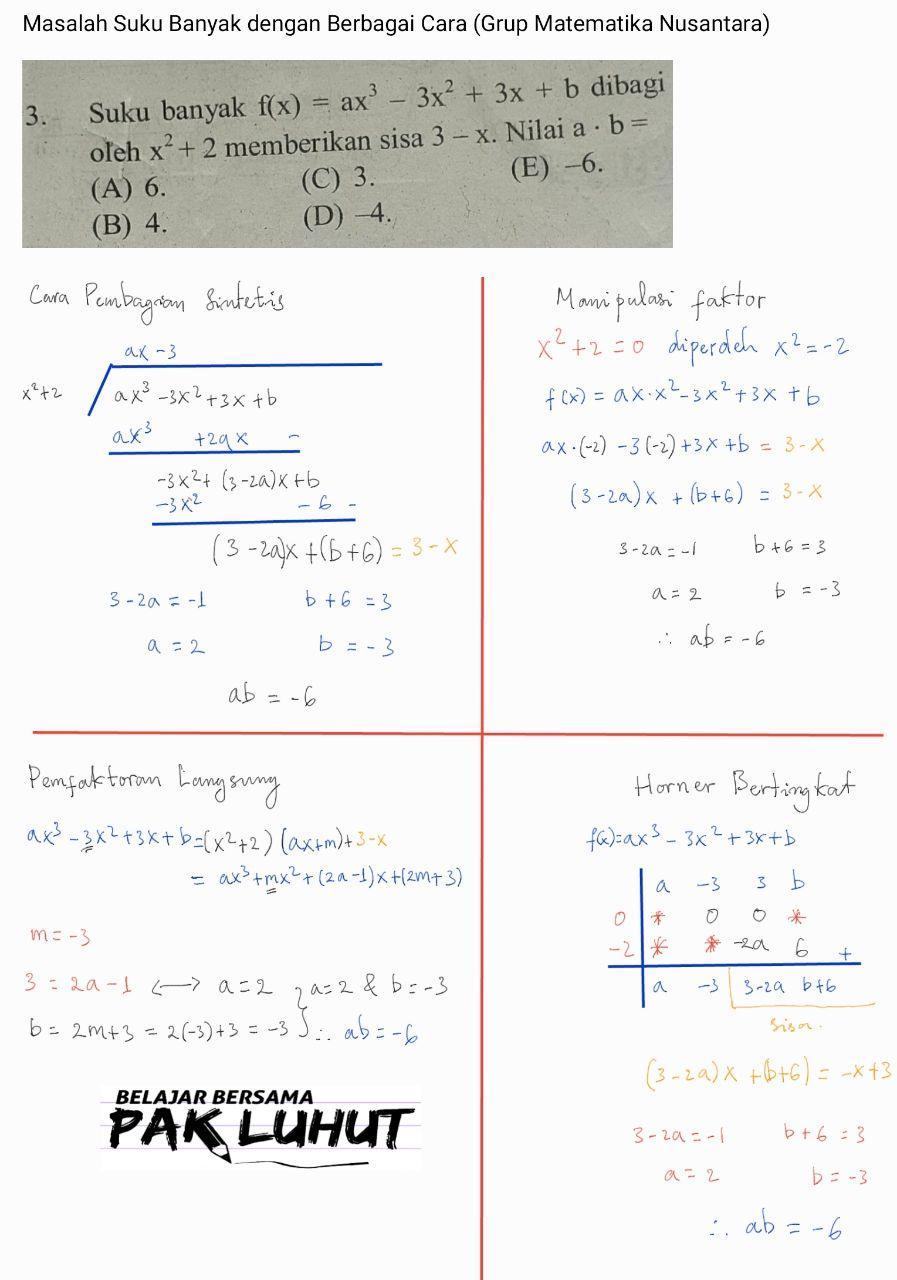 Matematika Dasar Suku Banyak: Lima Cara Alternatif Menentukan Sisa Pembagian atau Hasil Pembagian pada Suku Banyak