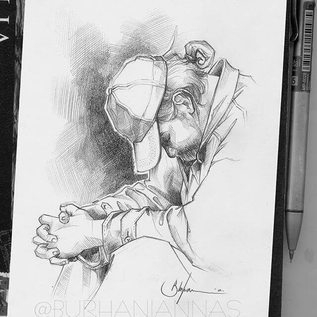 11-Figuring-out-the-next-step-Nas-Pencil-Drawings-www-designstack-co