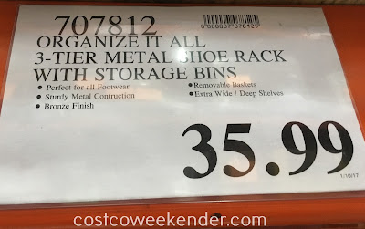 Costco 707812 - Deal for the Organize It All 3-Tier Metal Shoe Rack With Storage Bins at Costco