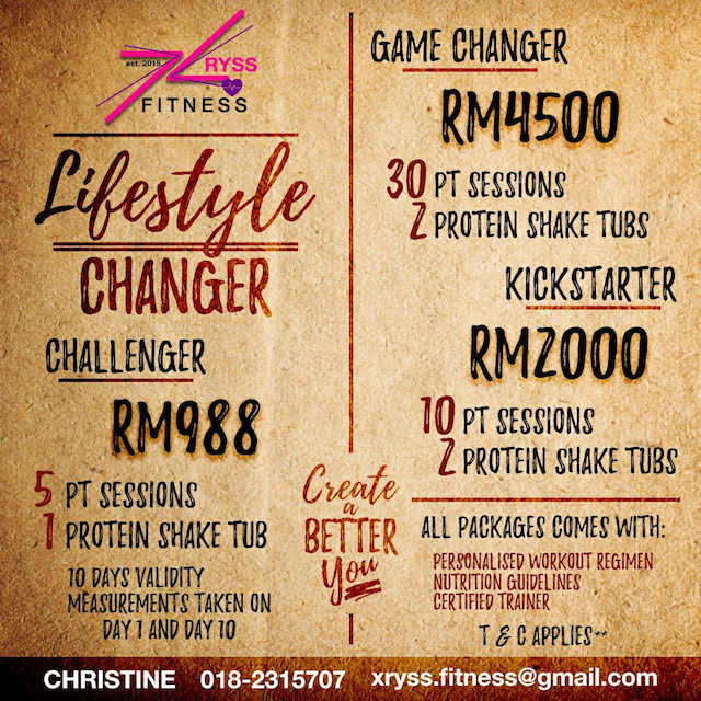Current promo from XRYSS Fitness. I tried the Lifestyle Changer option, with 5 personal training sessions + 1 protein shake tub