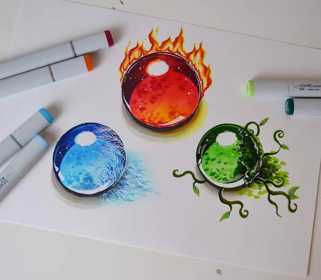 07-Fire-Water-and-Earth-Gems-Lisa-Saukel-Great-Detailing-in-Fantasy-Drawings-www-designstack-co
