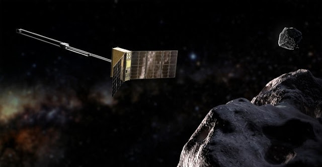 Deployed from ESA's Hera mission, Europe's miniature APEX spacecraft will operate as a mineral prospector in deep space, surveying the make-up of its target asteroids down to individual boulders, helping prepare the way for future mining missions. It will carry a spectral imager, a secondary ion mass analyser and a magnetometer. Credit: Tomi Kärkkäinen / Reaktor Space Lab