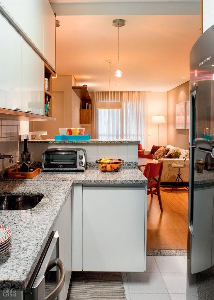 vista da cozinha para a sala