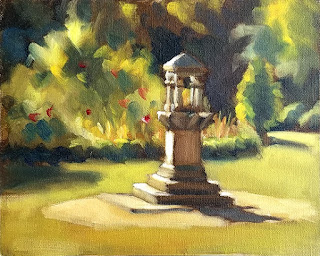 Oil painting of a stone drinking fountain in a garden.