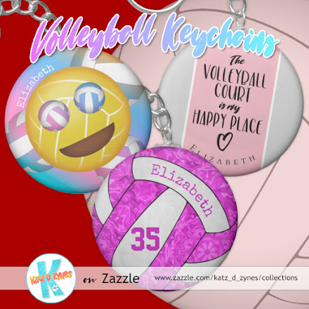 Girls' volleyball keychains collection from katzdzynes on Zazzle
