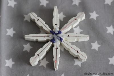 clothes pin snowflake craft