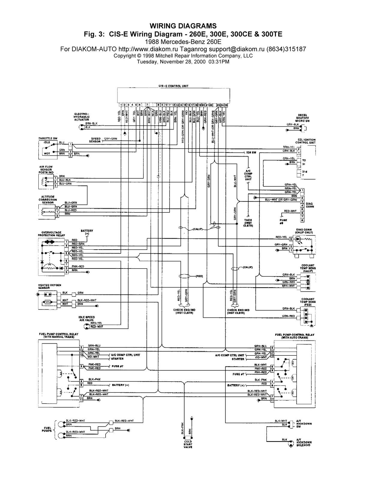 1988 MercedesBenz 260E CISE Wiring Diagrams | Schematic