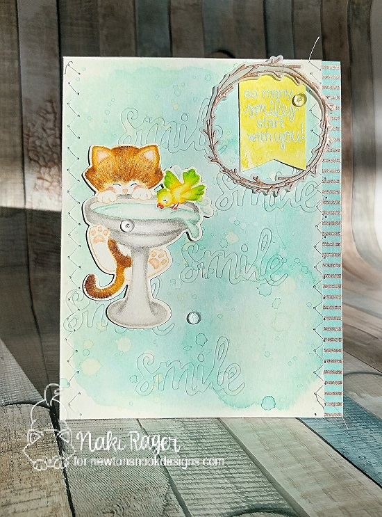Cat on Birdbath Card by Nakaba Rager | Newton's Birdbath Stamp set by Newton's Nook Designs #newtonsnook
