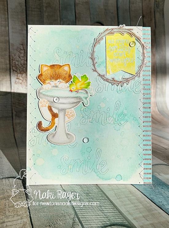 Cat on Birdbath Card by Nakaba Rager | Newton's Birdbath Stamp set by Newton's Nook Designs #newtonsnook