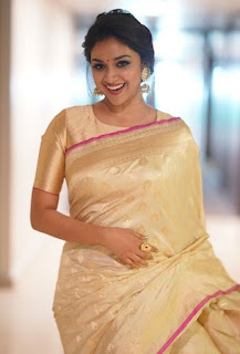 Keerthy Suresh in Saree with Cute Smile at Pandem Kodi 2 Press Meet 1
