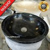 Wastafel marmer tulungagung bulat kran asli batualam diameter 40 cm