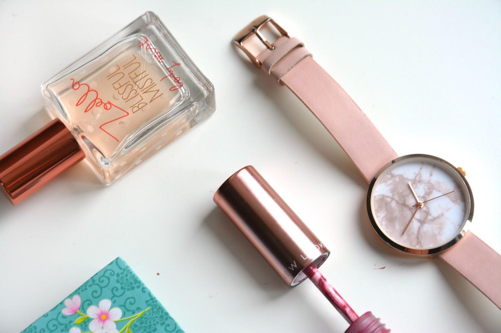 Zoella Blissful Mistful Body Mist; Asos Watch; New Look Super Matte Liquid Lipstick