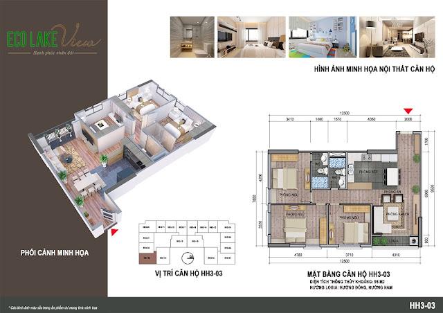 Thiết kế căn hộ 02 tòa HH-3 chung cư Eco Lake View