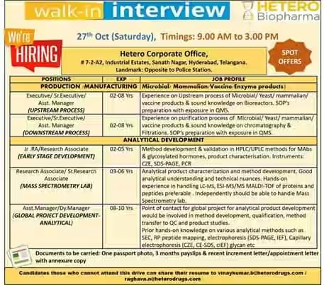 HETRO Biopharma Walk In Interview For (Multiple positions) Production Manufacturing & Analytical Development at 27 October