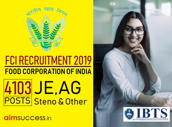 FCI Recruitment 2019: 4103 JE, AG, Steno & Other Posts (Apply Online)