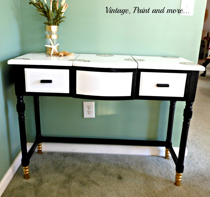 Vintage, Paint and more... an old vanity painted and made new with gold dipped feet and stencils