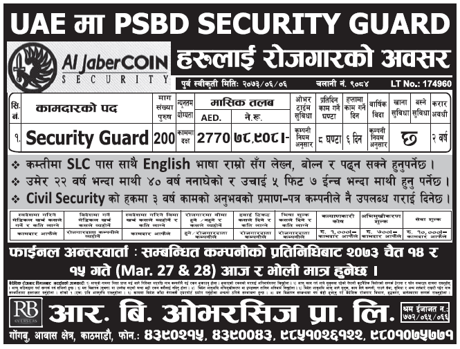 Jobs in UAE for Nepali, Salary Rs 78,908