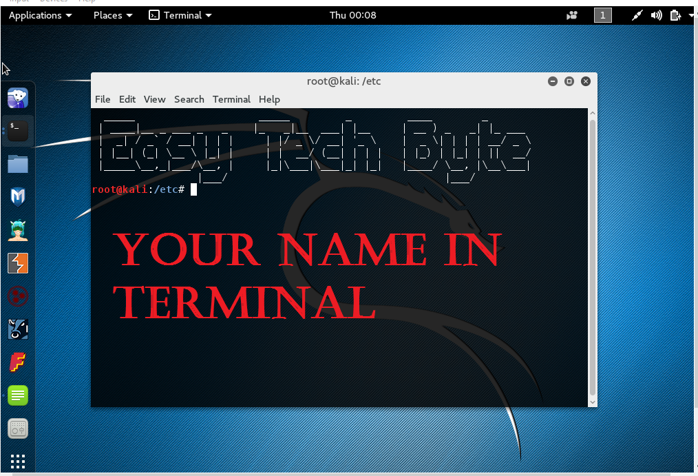 HOW TO WRITE YOUR NAME IN UBUNTU , KALI , BASH SHELL OR ANY