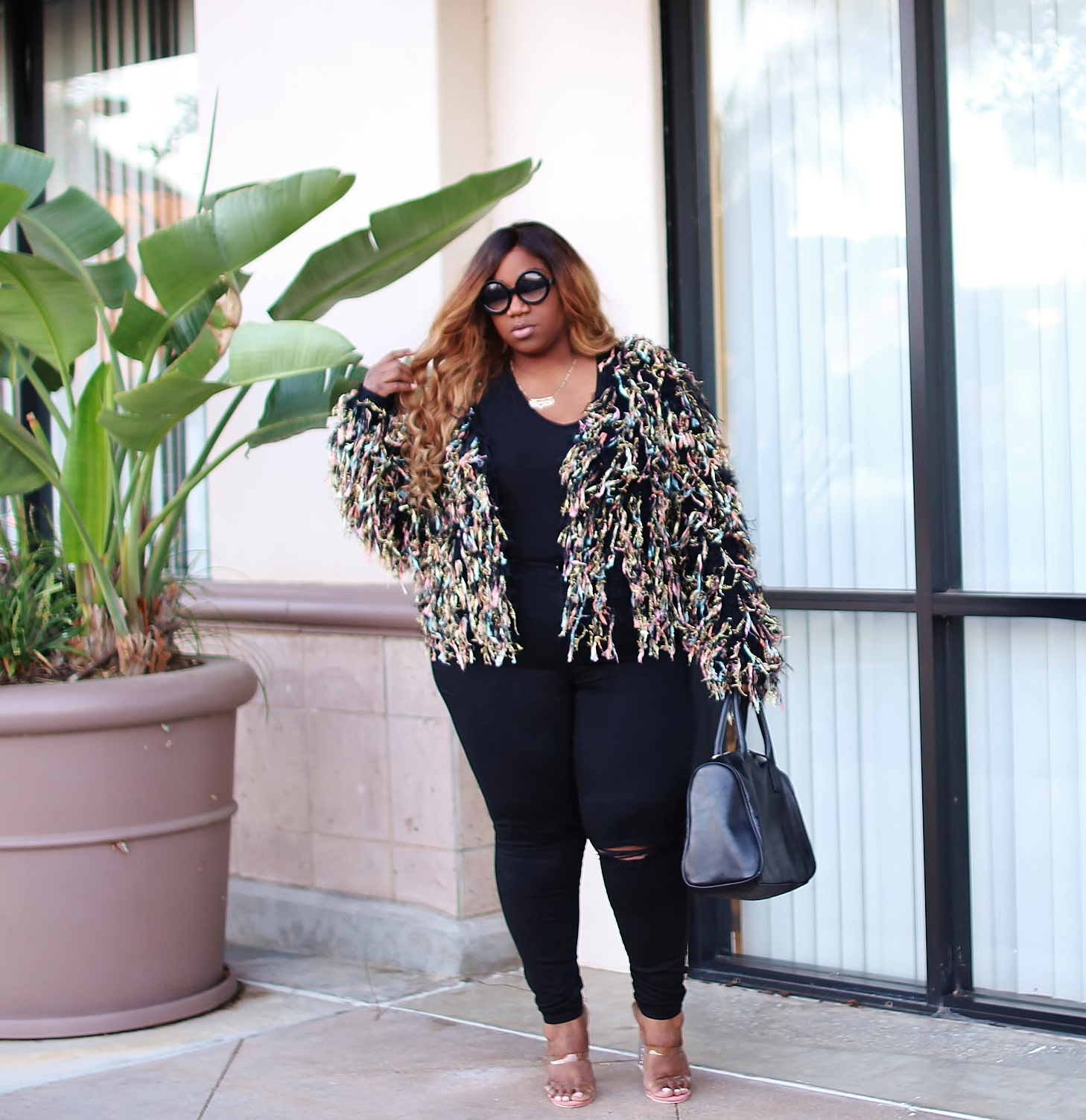 plus size fringe sweater