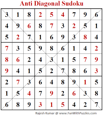 Answer of Anti Diagonal Sudoku Puzzle (Fun With Sudoku #381)