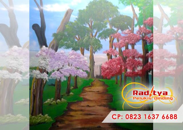 Lukisan tembok ruang tamu