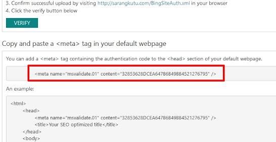 Verifikasi Ownership Bing Webmaster Tools