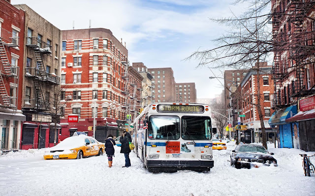 Sneeuw in de straten van New York