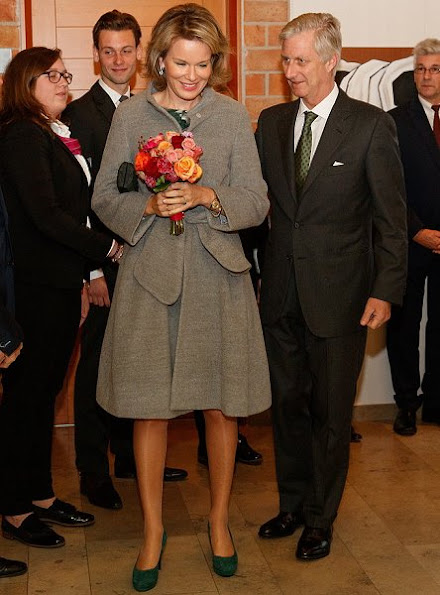 Queen Mathilde wore Natan dress, Natan coat, Natan shoes, Tikli Jewelry earrings, Delphine Nardin Gold Diamond Earrings, Diane von Furstenberg clutch
