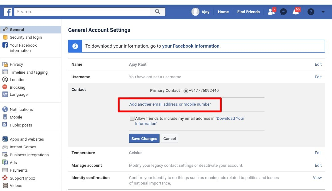 how to change email id in facebook